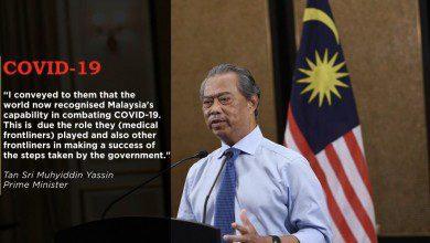صورة رئيس الوزراء الماليزي يثمن إشادة الصحة العالمية بالخطوط الأمامية الماليزية