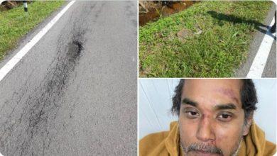 صورة حفرة تتسبب بإصابة وزير العلوم والتكنولوجيا الماليزي أثناء قيادة دراجته الهوائية
